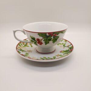 Christmas Teacup and Saucer